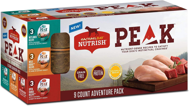 Rachael Ray Nutrish Peak Grain Free Three Flavors Variety Pack Wet Dog Food, Case of 3.5 OZ Trays