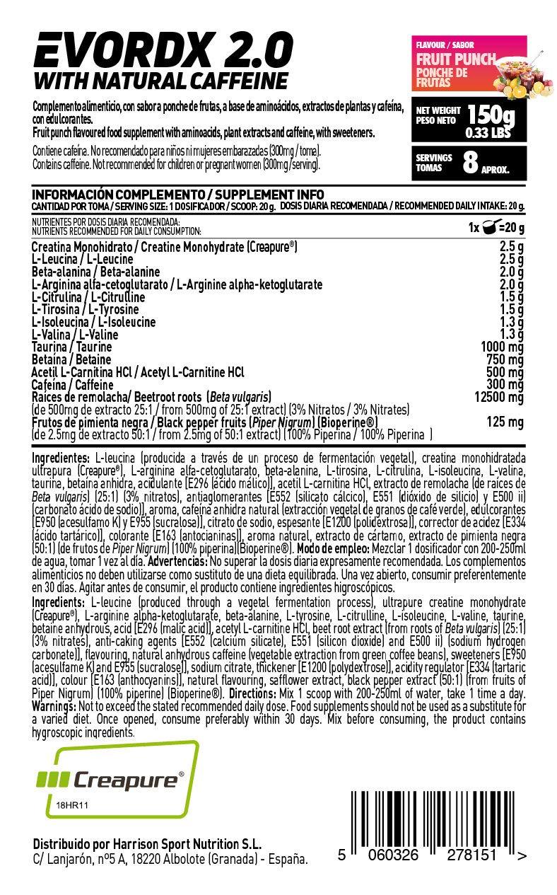 Pre-Entreno Potente Evordx 2.0 de HSN Sports | Pre-Workout con Cafeína, Creatina Creapure, BCAAs, Beta-Alanina, Arginina | Óxido Nítrico | Sin ...