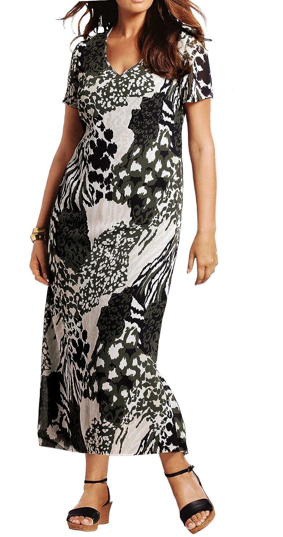 adonia mode Wadenlanges Sommerkleid Kleid Camouflage , Gr.42 - 50