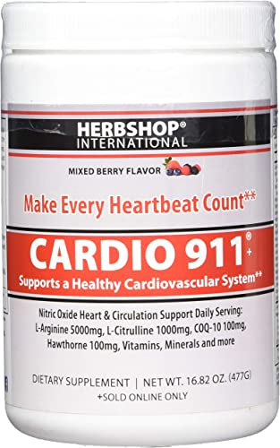 Cardio 911 – Heart Health Powder Supplement – L Arginine 5000mg – L Citrulline 1000mg, Cardiovascular – Nitric Oxide Booster – 16 Oz. Mixed Berry Flavor – 30 Day Supply