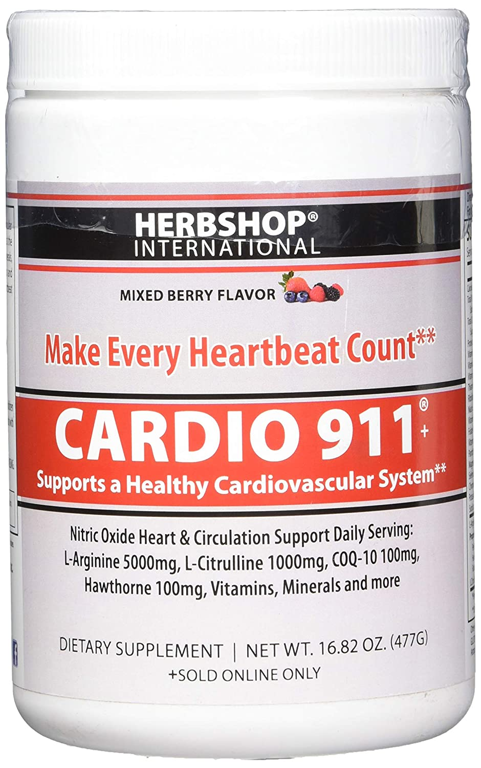 New Berry Flavor Cardio 911 – Heart Health – L Arginine 5000mg – L Citrulline 1000mg, 16.82 Ounce Powder, 30 Day Supply
