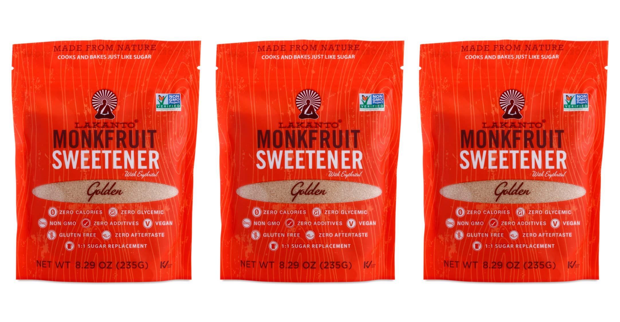 Lakanto Monkfruit 1:1 Sugar Substitute, NON GMO, Golden, 8.29 oz (235 g) Pack Of 3