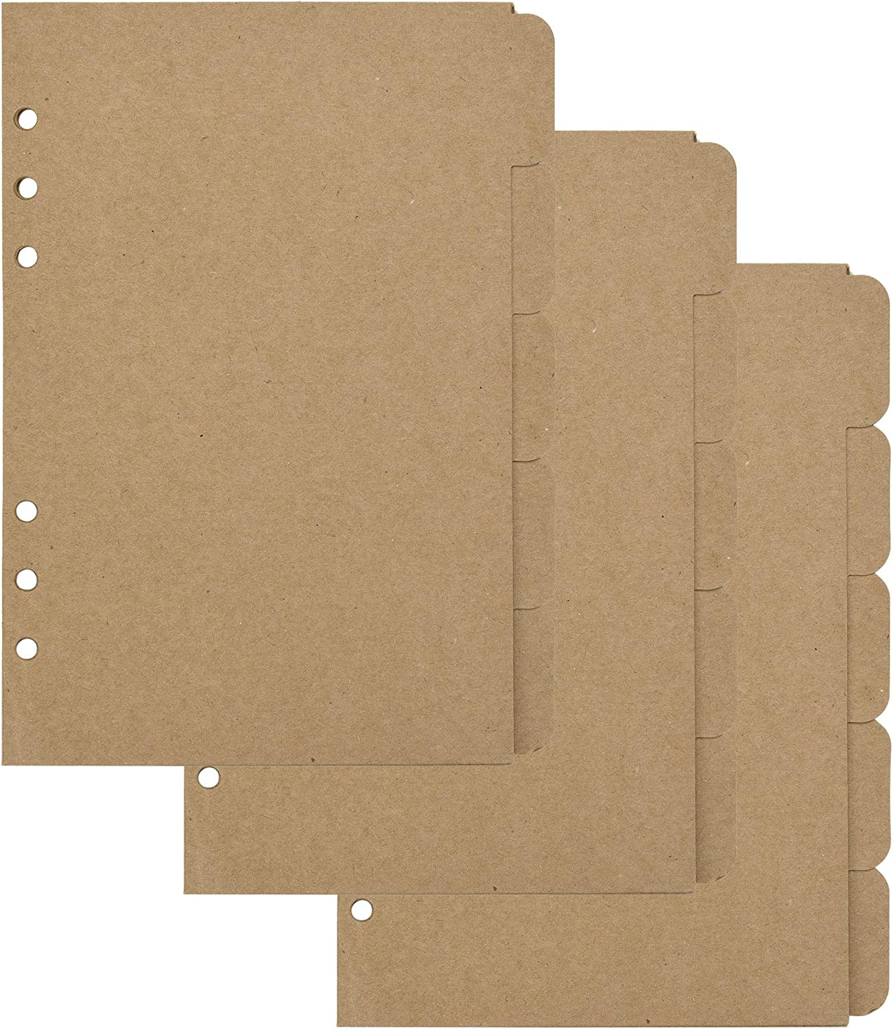 Bluecell 3 Sets Kraft Paper Divider Index Page Tab Cards for 6-Holes Ring Binders Notebooks Travel Diary Journal Planner (A5)