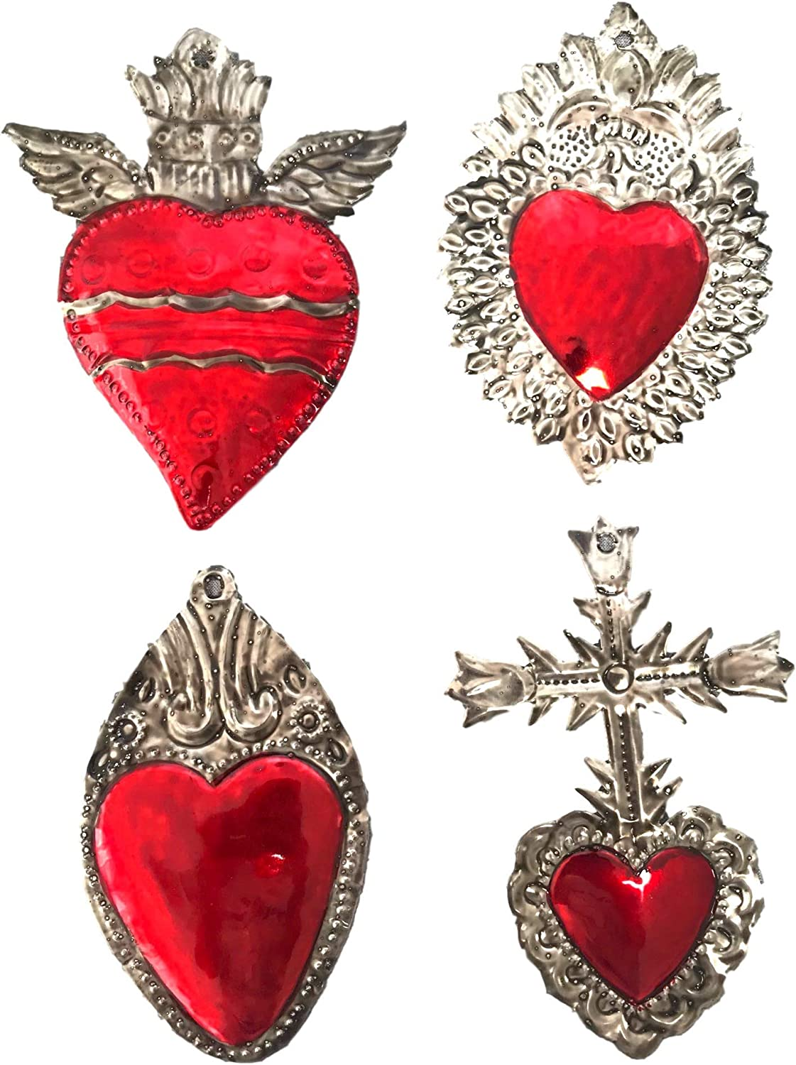 Milagros Charms - Tin Painted Sacred Heart Ornaments - Mexican Art (Set of 4) - Large - Milagros Gris y Rojo Grandes