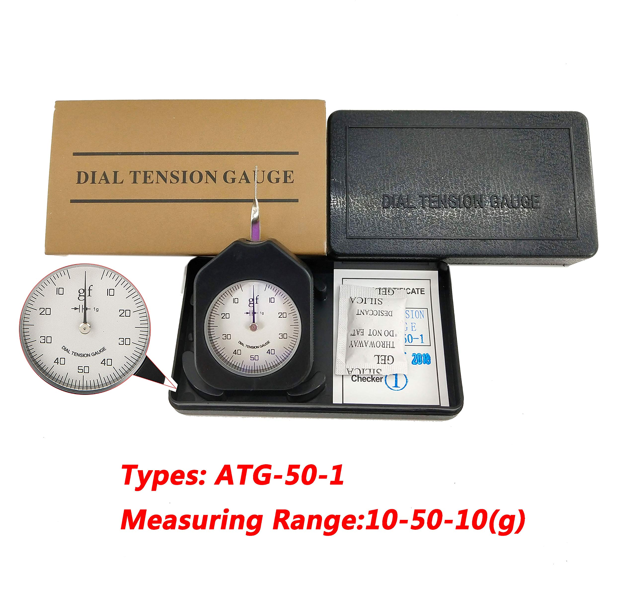 HFBTE ATG-50-1 Pocket Size Type 50g Dial Tensionmeter Tension Gauge with Single Pointer Tension Meter Tester