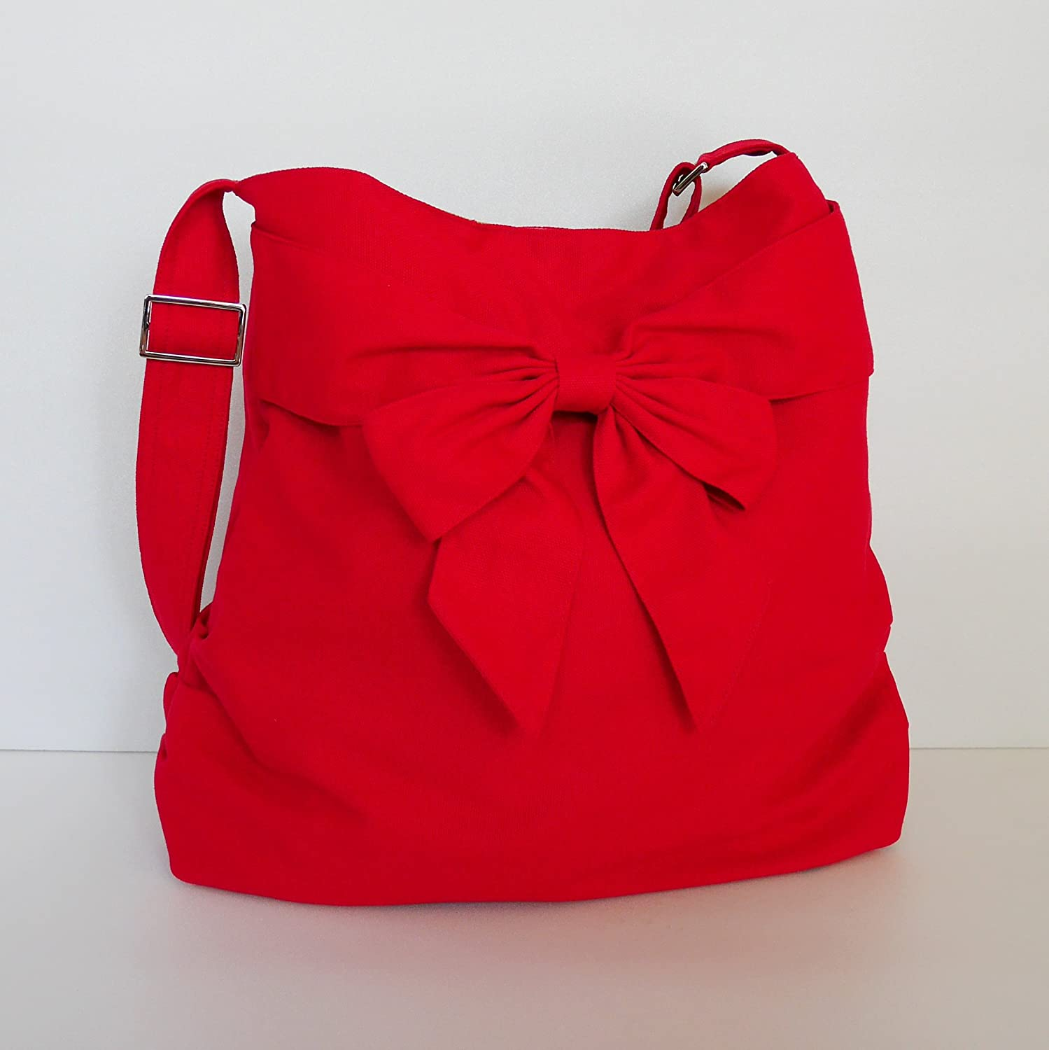 Virine red shoulder bag, cross body bag, messenger bag, everyday bag, handbag, travel bag, tote, bow, for women - JENNIFER