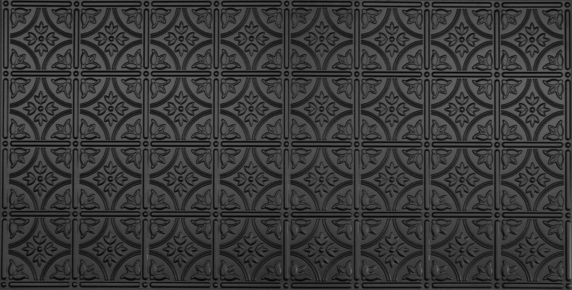 Global Specialty Products 209-06 Traditional Tin Style Panels For Glue-Up Installation, Matte Black