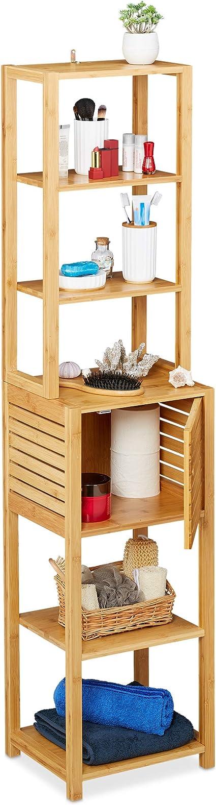 Relaxdays Estantería de baño, Siete baldas, con Puerta, Mueble Auxiliar Estrecho, Bambú, 149x35x29 cm, 1 Ud, Marrón