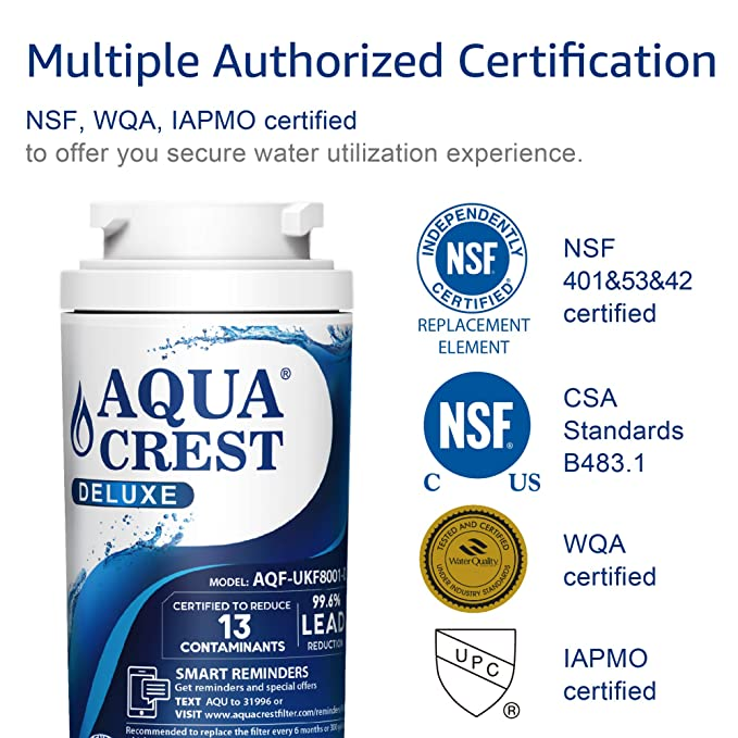AQUACREST UKF8001 NSF 401 Certified to Reduce 99% of Lead, Pharmaceuticals  and More, Compatible with Maytag UKF8001, UKF8001AXX, UKF8001P, PUR