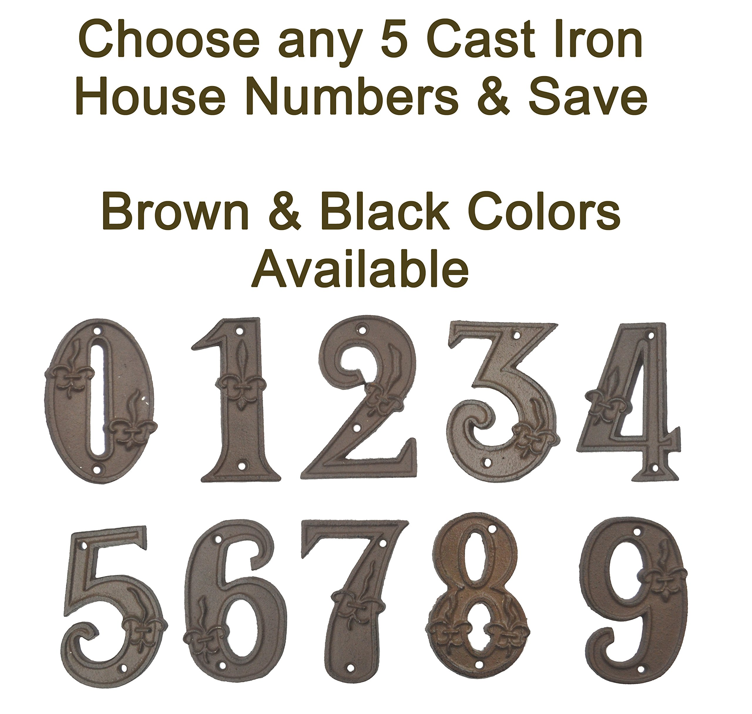 Lulu Decor, 100% Cast Iron House Numbers, Black or Brown with Fleur De Lis (Any 5 Numbers, Bulk Discount)