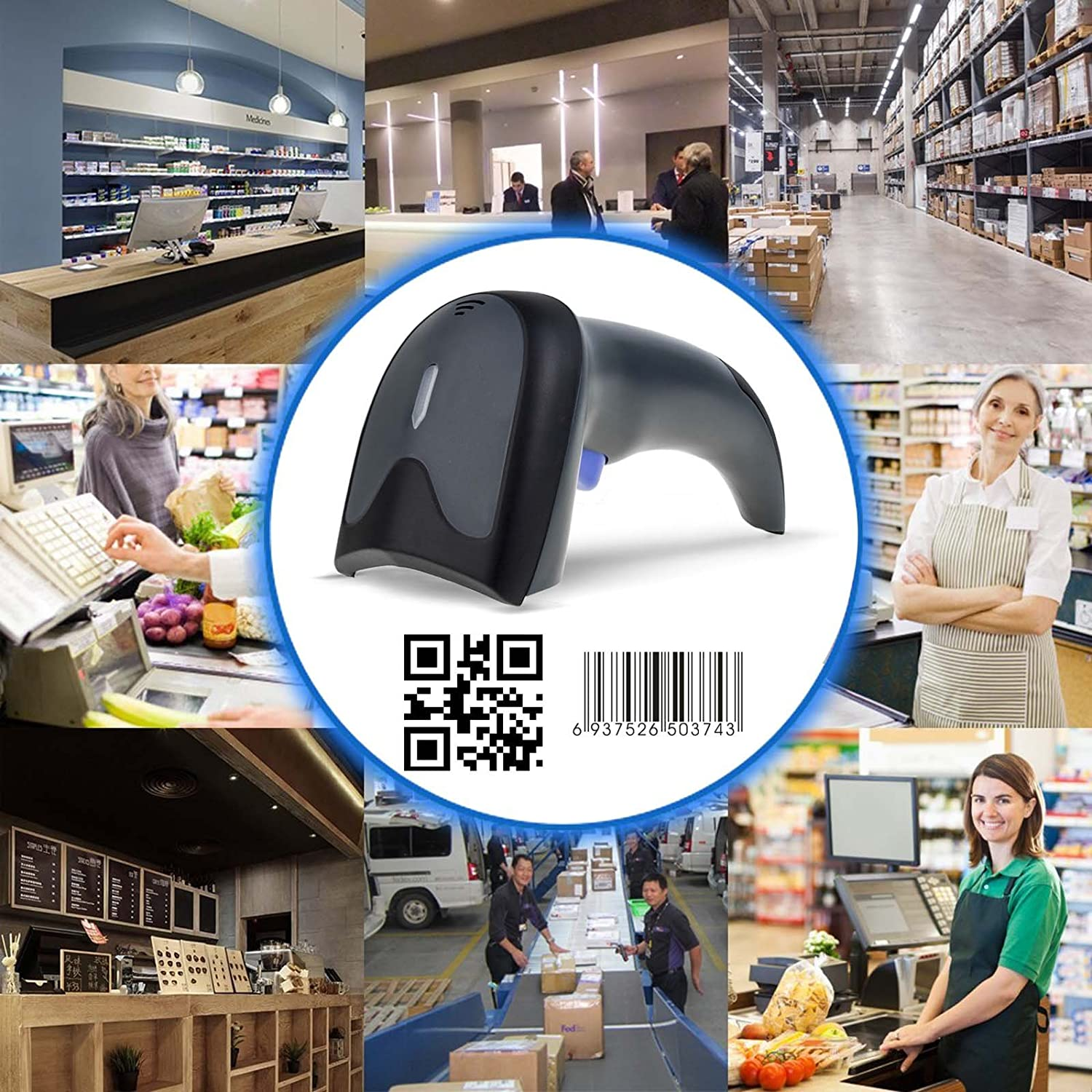 USB Automatic Barcode Scanner Scanning Barcode Bar-Code Reader Wireless 2.4GHz Handheld Cordless Bar-Code Reader USB Rechargeable Wireless//Wired for POS System 2D//1D 2.4Ghz Wired/&Wireless