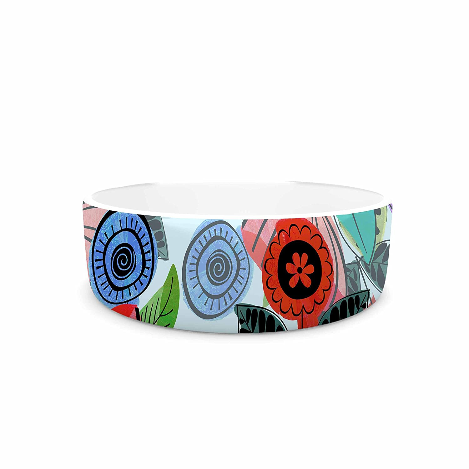 7\ KESS InHouse Famenxt Fresh Spring Flowers  Multicolor Floral Pet Bowl, 7