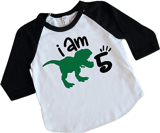 Amazon.com: Camisa de dinosaurio de cinco cumpleaños, para ...