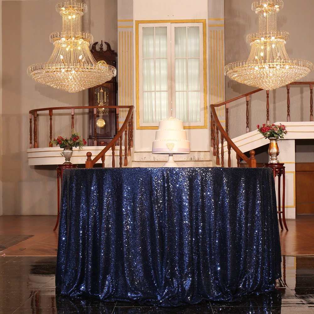 Navy bluee 108  Round PartyDelight Sequin Tablecloth Round 132  Tablecloth, pink gold