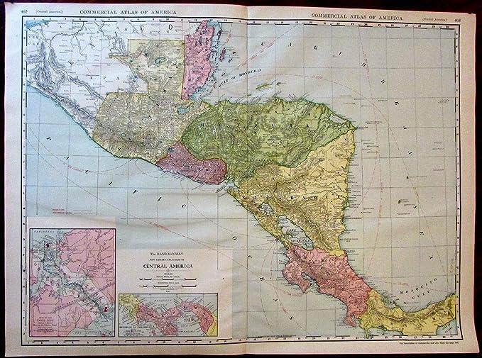 Amazon.com: Central America Panama Canal zone c.1913 huge ...