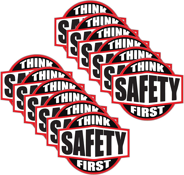 StickerDad (12 PACK) Think Safety First Hard Hat Sticker V2 Hard Hat Helmet decal - size: 2 Inch color: RED/BLACK/WHITE - Hard Hat, Helmet, Windows, Walls, Bumpers, Laptop, Lockers, etc.