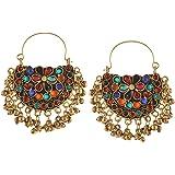 Zephyrr Multicolor German Silver Hoop Earrings For Women and Girls