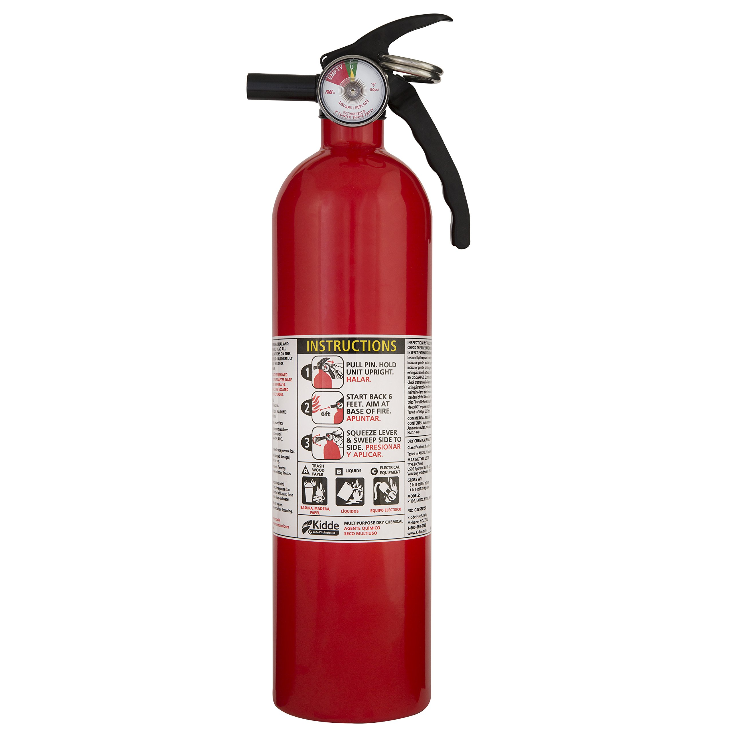 Kidde 408-466142MTL FA110 Multi-Purpose A, B, C Recreational Fire Extinguisher