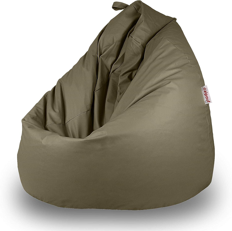 Italpouf - Puff Pera de Polipiel XXL 100 x 130 cm 500l con Funda Extraible Indoor Muy Resistente Moldeable con Relleno (Bison): Amazon.es: Hogar