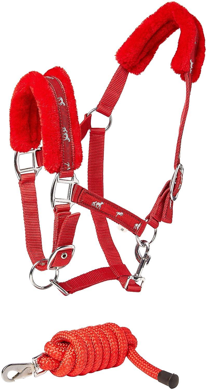 cwell Pferde New Equine Print Fell Gepolsterte Halfter Halfter passende Leine Rot Verschiedene Gr/ö/ßen