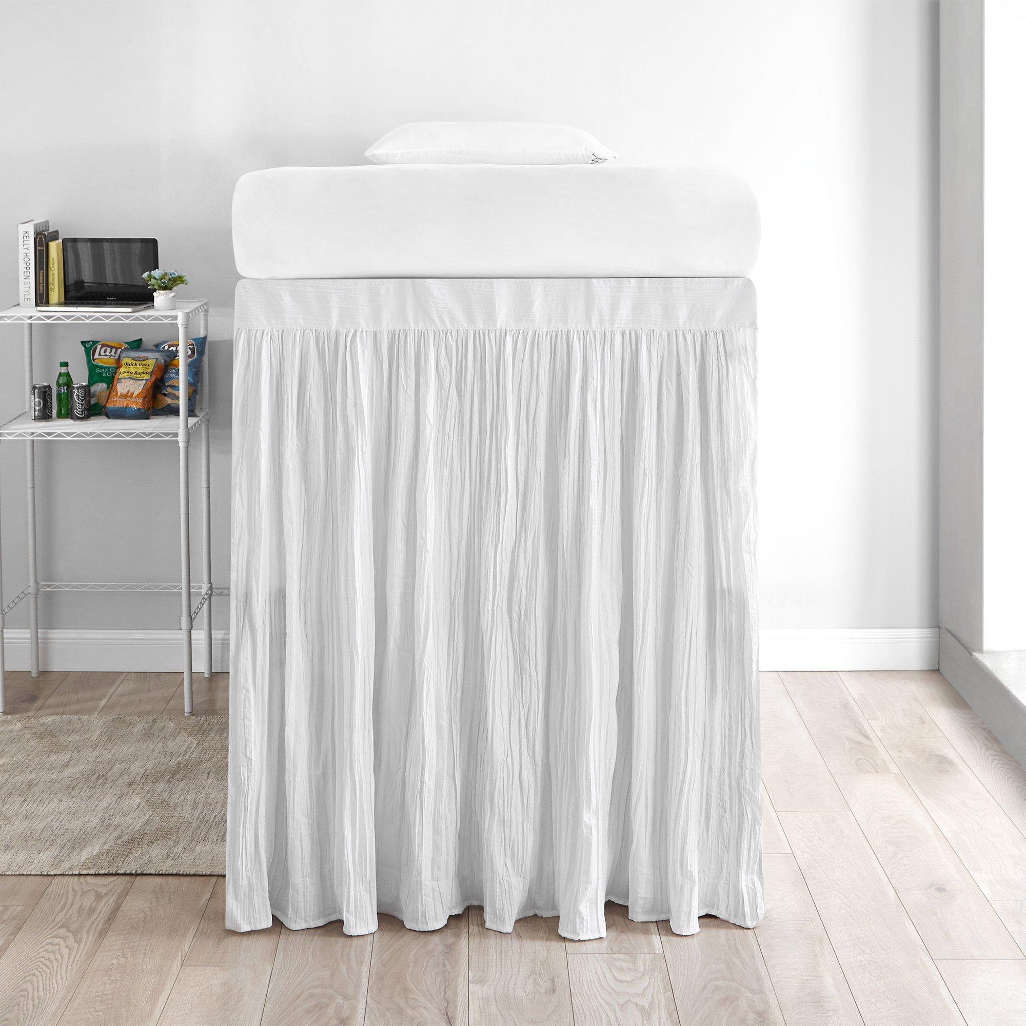DormCo Crinkle Extended Bed Skirt Twin XL (3 Panel Set) - White