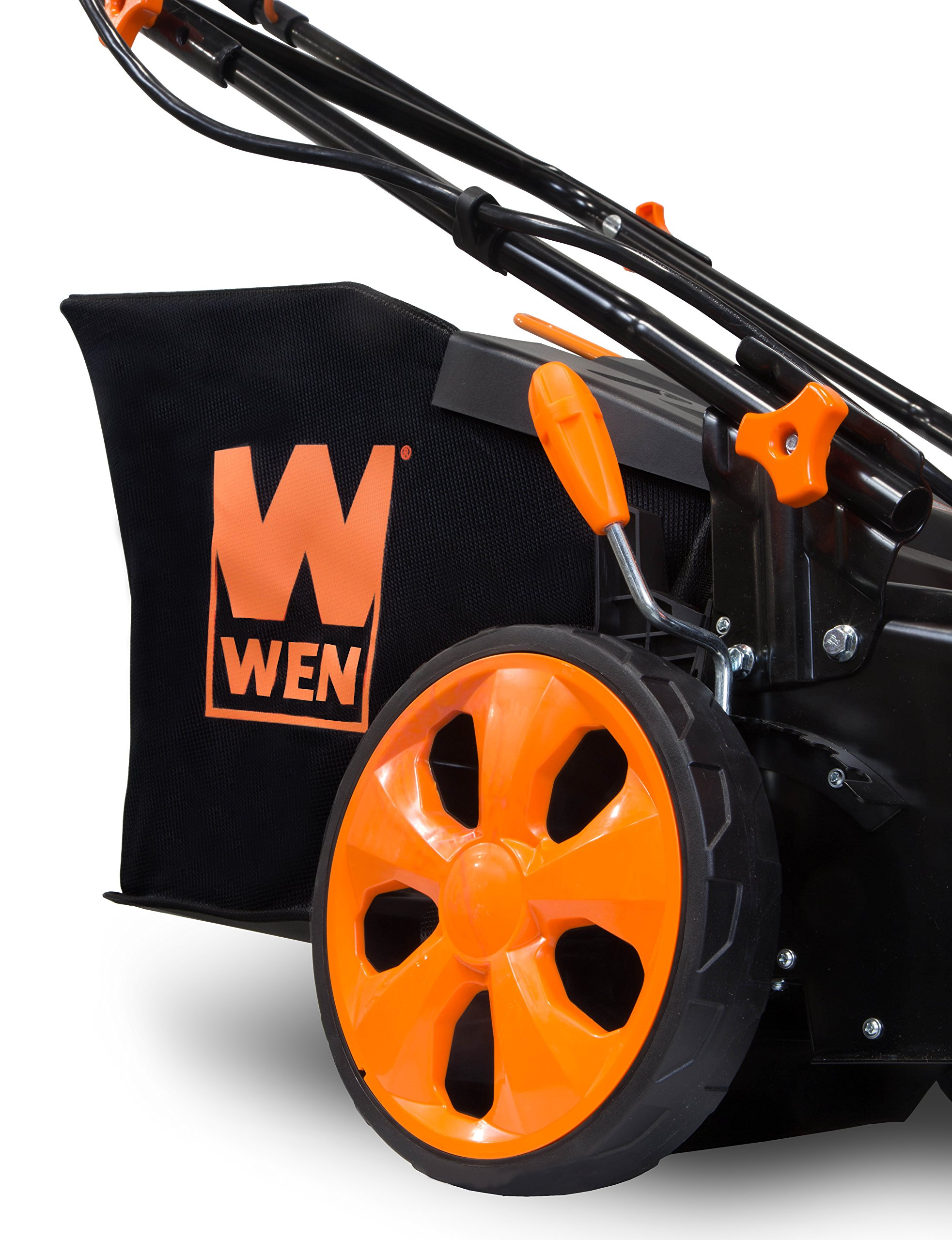 WEN 40439 40V Max Lithium Ion 19-Inch Cordless 3-in-1 Electric Lawn Mower with Two Batteries, 16-Gallon Bag and Charger 4 Includes one 4 amp-hour battery, one 2 amp-hour battery, one 16-gallon bag, one charger, and a two-year warranty Versatile 19-inch steel deck allows users to mulch, bag or use the side discharge door Adjust the cutting height between six different stops ranging from 1.5 to 4 inches