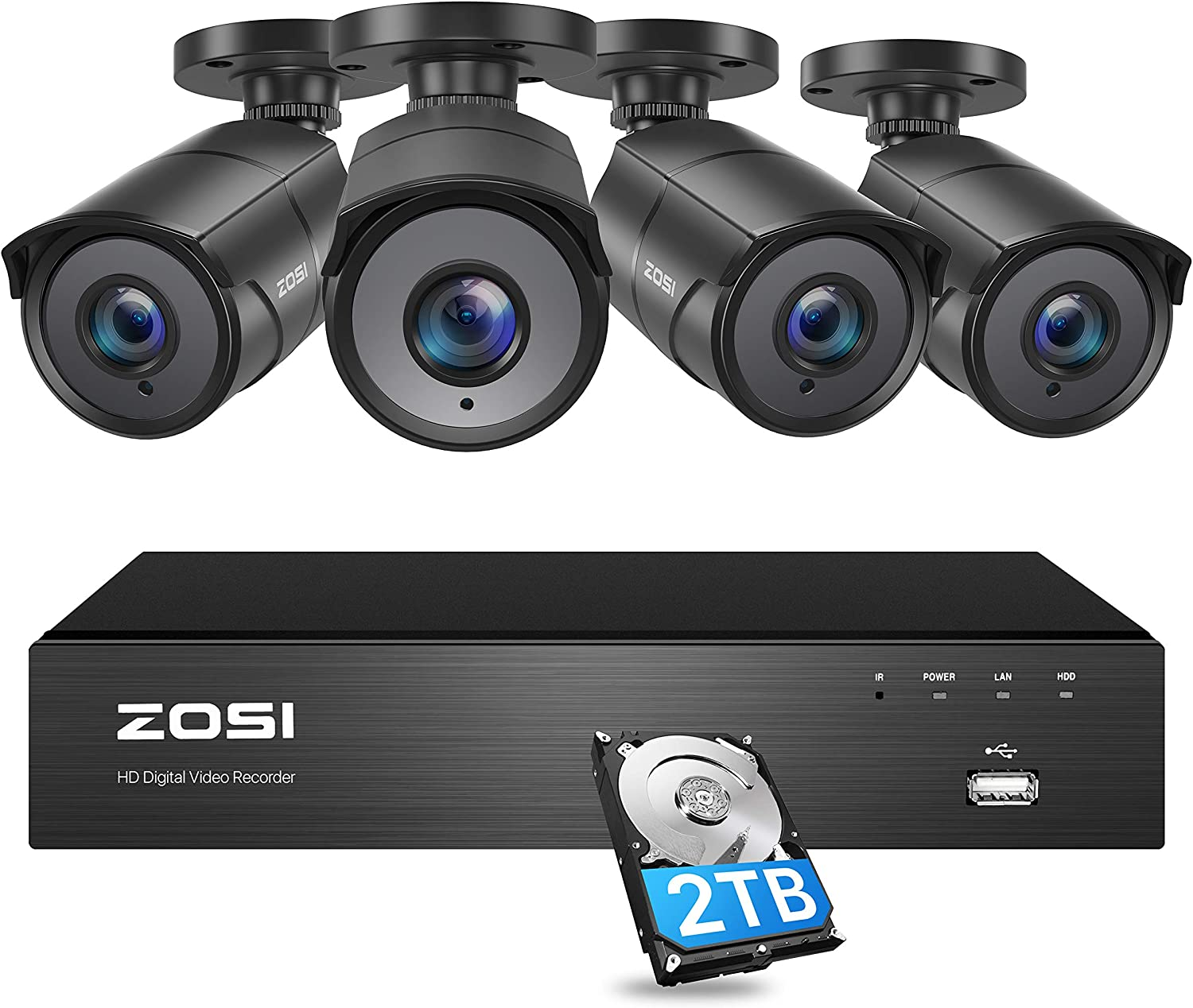 ZOSI 4K Ultra HD Home Security Camera System Outdoor Indoor, H.265+ 8 Channel CCTV DVR with 4 x 4K (8MP) Surveillance Bullet Camera Weatherproof, 150ft Night Vision, 2TB Hard Drive, Remote Access