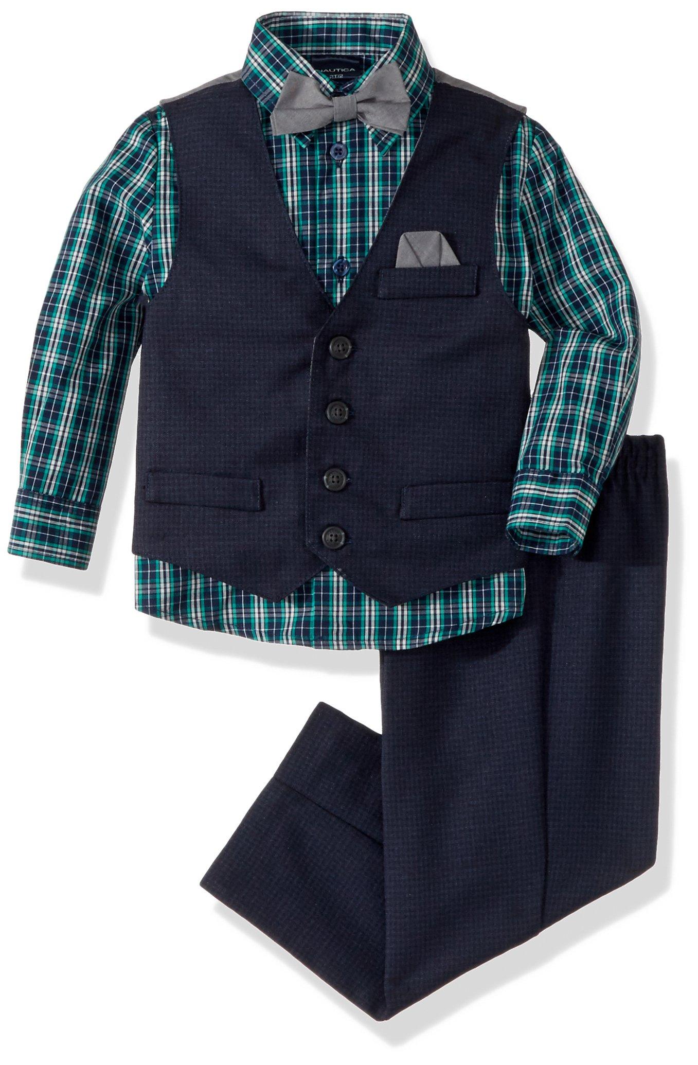 Nautica Boys' 4-Piece Vest Set with Dress Shirt, Bow Tie, Vest, and Pants, Dark Blue, 18