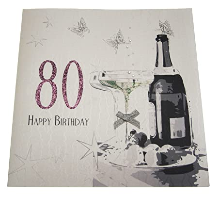 WHITE COTTON CARDS Code XDSA80 Large 80th Birthday Card Champagne And Chocolates Amazoncouk Kitchen Home