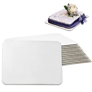 [17 Pack] 14x10 Inch White Corrugated Cake Board - Laminated Rectangular Quarter Sheet, Scalloped Cardboard Base, Pizza, Desserts and Pastries Food Trays, Grease Proof and Moisture Resistant