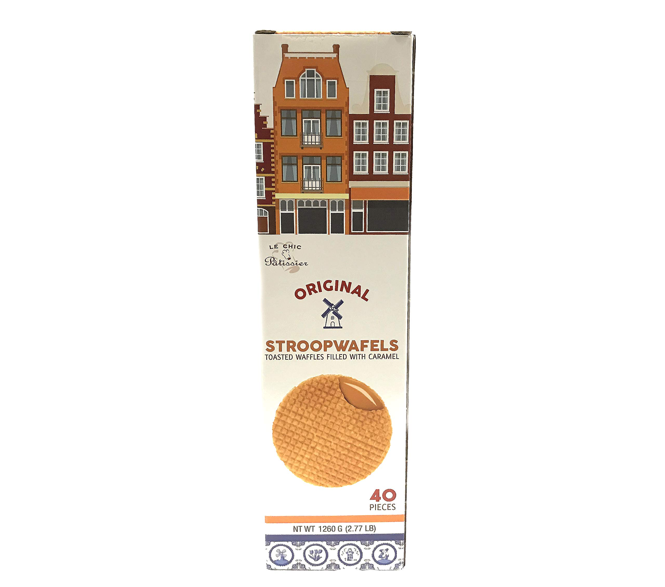 Daelmans Original Caramel Wafer, Stroopwafel, Holiday Family Size | 1.12-Ounce Box (Pack of 40) Total 2.77 Pounds