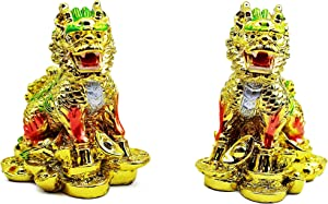 Feng Shui Pair of Gold Elegant Chi Lin Dragon Horse on Gold Coins?? Wealth Lucky Statue Figurine Home Decor Housewarming Congratulatory Gift with a Chinese Royal Yellow Gift Box