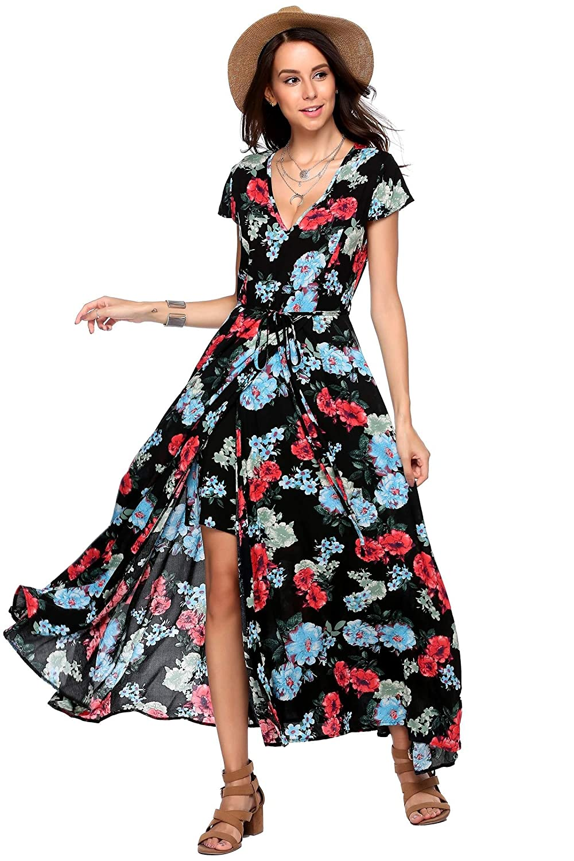 4f9cbb25582 Amazon.com  Zeagoo Women Floral Romper Maxi Dress Cold Shoulder Beach Dress  Overlay Boho Jumpsuit  Clothing