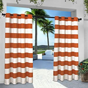 Exclusive Home Curtains Indoor/Outdoor Stripe Cabana Grommet Top Curtain Panel Pair, 54x96, Mecca Orange, 2 Count