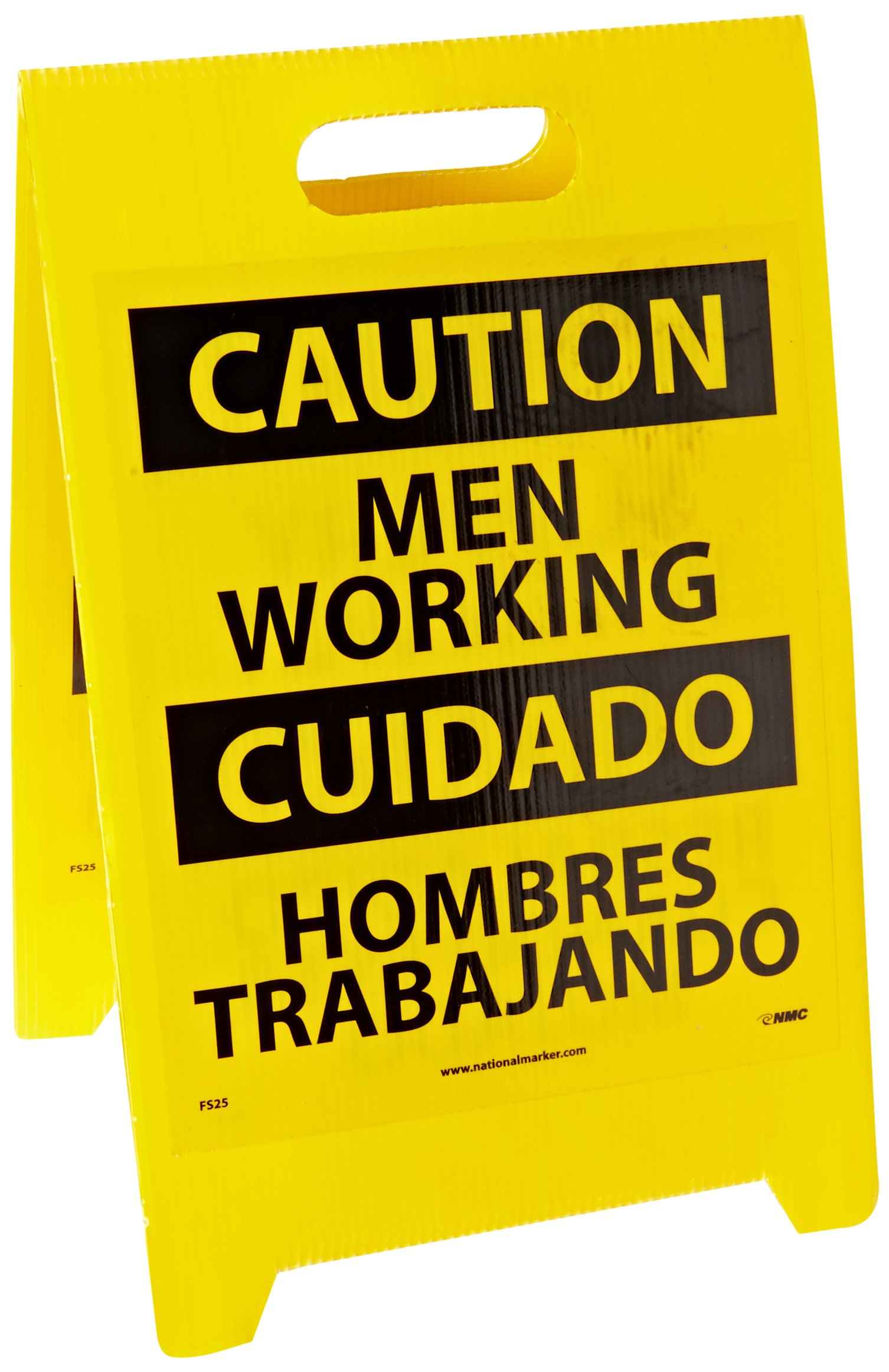 NMC FS25 Bilingual Double Sided Floor Sign, Legend''CAUTION - MEN WORKING SLIPPERY WHEN WET'', 12'' Length x 20'' Height, Coroplast, Black on Yellow