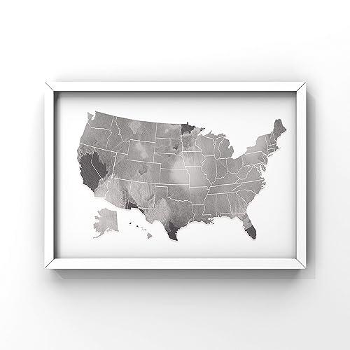 Amazon.com: USA Map Poster   USA Map Print   United States ...