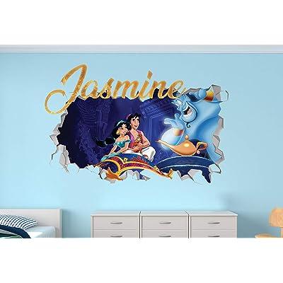 "Aladdin Custom Name 3D Personalized Wall Decal Sticker - Kids Wall Decor - Art Vinyl Wall Decal - MA347 (Medium (Wide 30"" x 16"" Height)): Home & Kitchen"