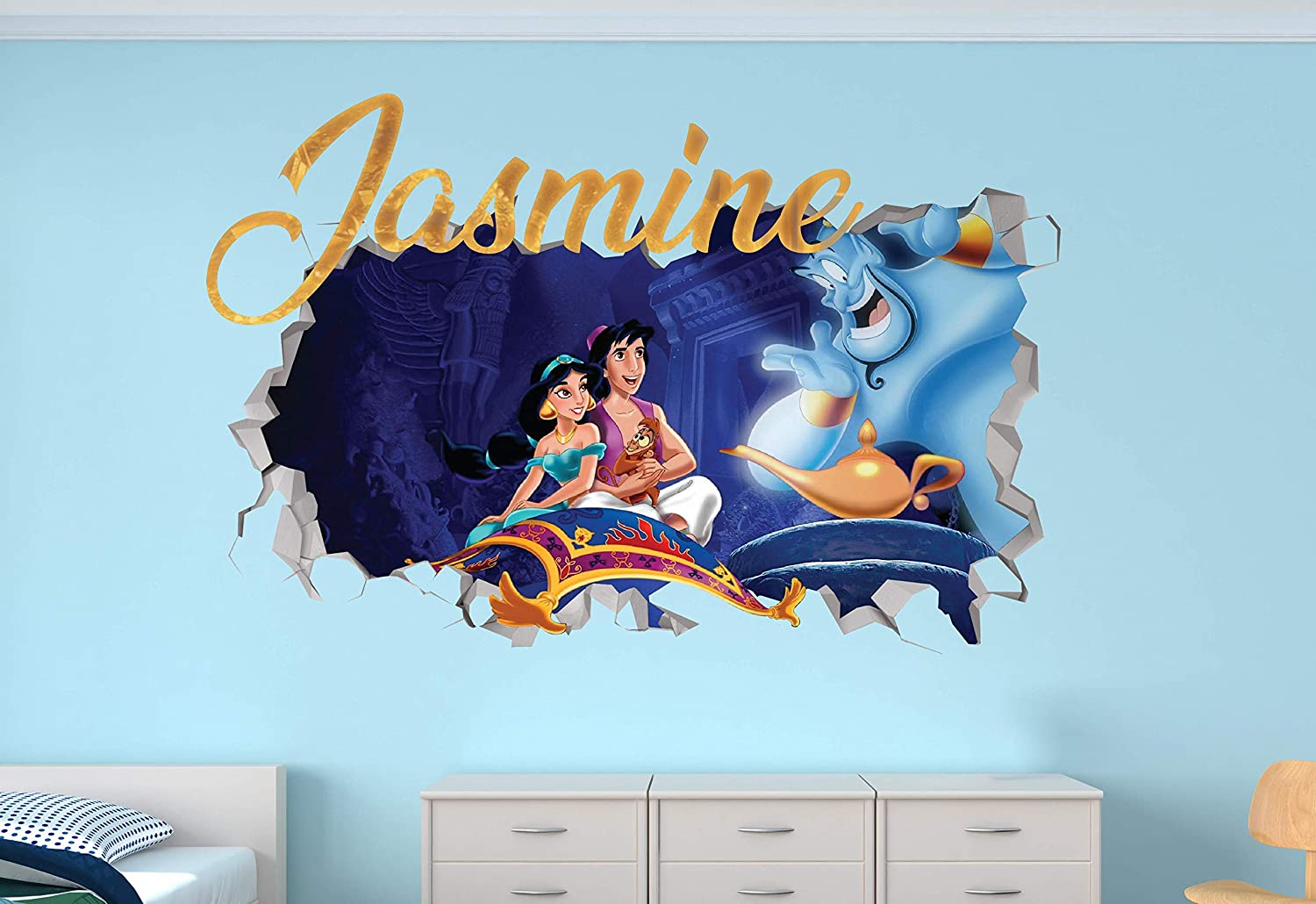 "Aladdin Custom Name 3D Personalized Wall Decal Sticker - Kids Wall Decor - Art Vinyl Wall Decal - MA347 (Small (Wide 22"" x 12"" Height))"