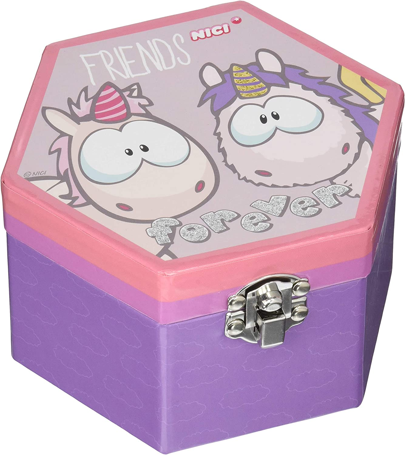 Nici 42340 and Friends - Joyero (13,5 x 8 cm), diseño de Unicornio, Color Blanco y Morado: Amazon.es: Juguetes y juegos