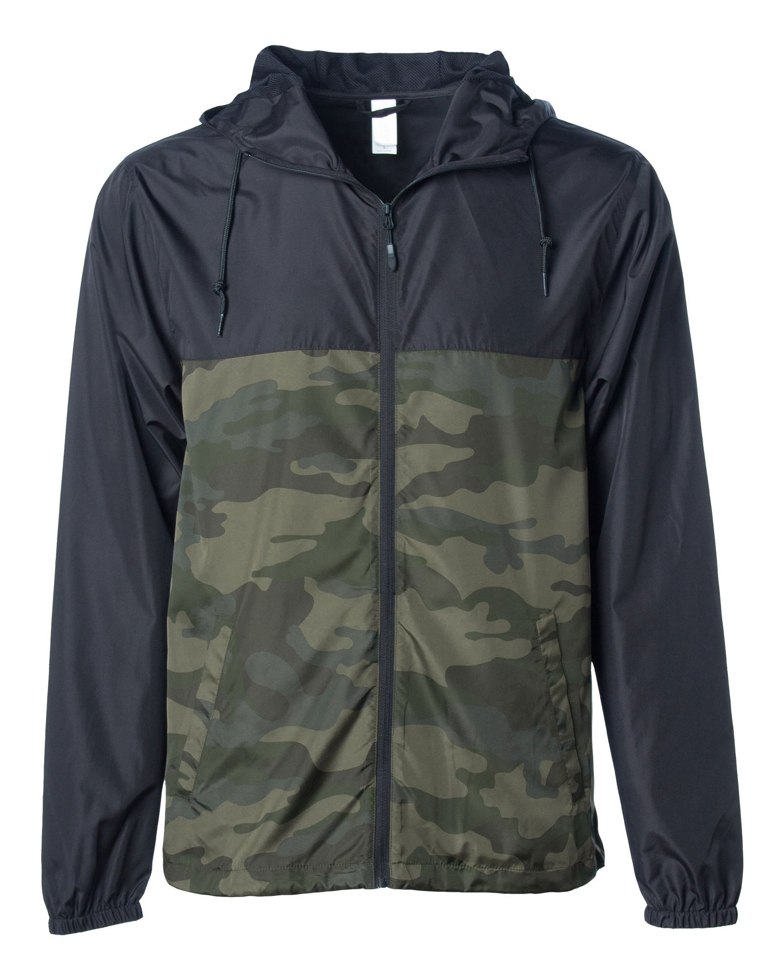 Global Blank Men's Lightweight Windbreaker Winter Jacket Water Resistant Shell Black/Camo by Global Blank
