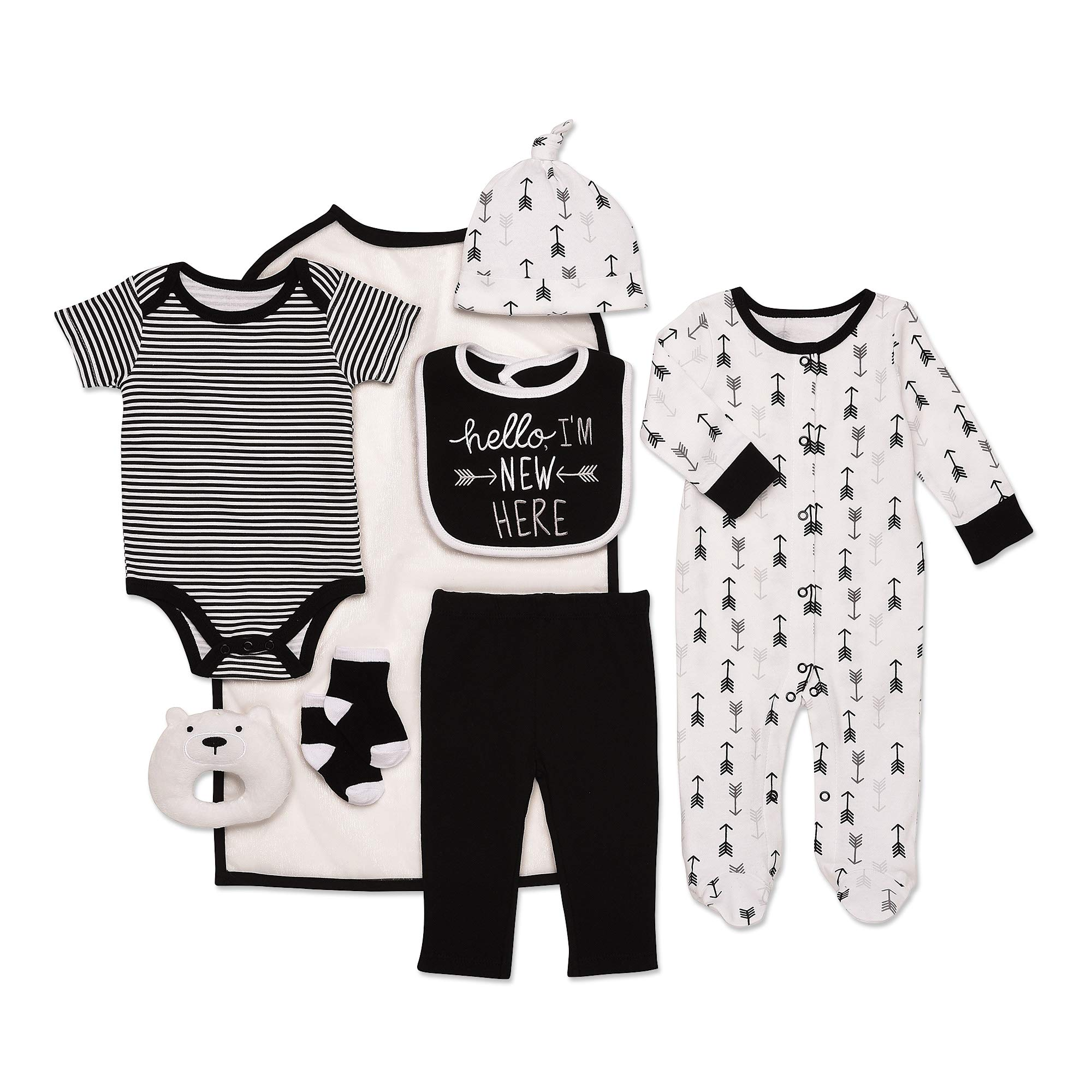 Mini B. by Baby Starters 9-Piece Hello I'm New Here Layette Set Black/White 0-3 Months for Sleep & Play with Bodysuit, Pants, More by Baby Starters
