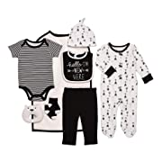 Baby Starters 9-Piece Hello I'm New Here Layette Set Black/White 3-6 Months for Sleep & Play with Bodysuit, Pants, More