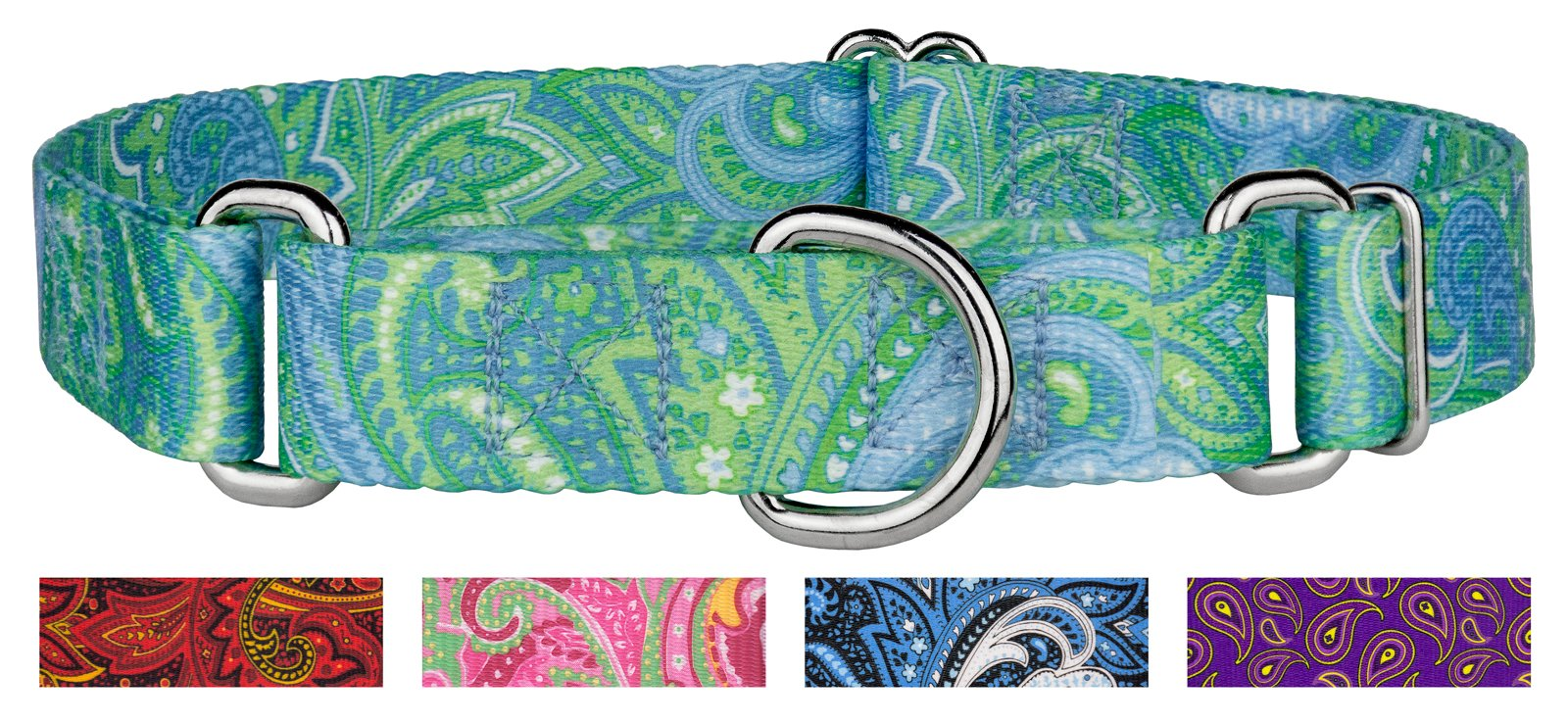 Country Brook Design Green Paisley Martingale Dog Collar-M