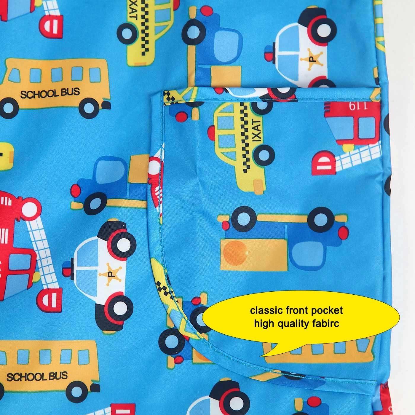 Childrens Waterproof Bib Smock Pullover Sleeved Cartoon Pattern Kids Art Apron