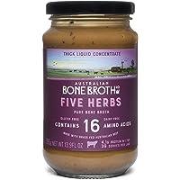 Australian Beef Bone Broth Concentrate - Five Herbs- Instant Bone Broth Beverage- Improve Your Digestive Well-Being, Joint + Bone Health. Gluten & Dairy Free 375-gram Glass jar