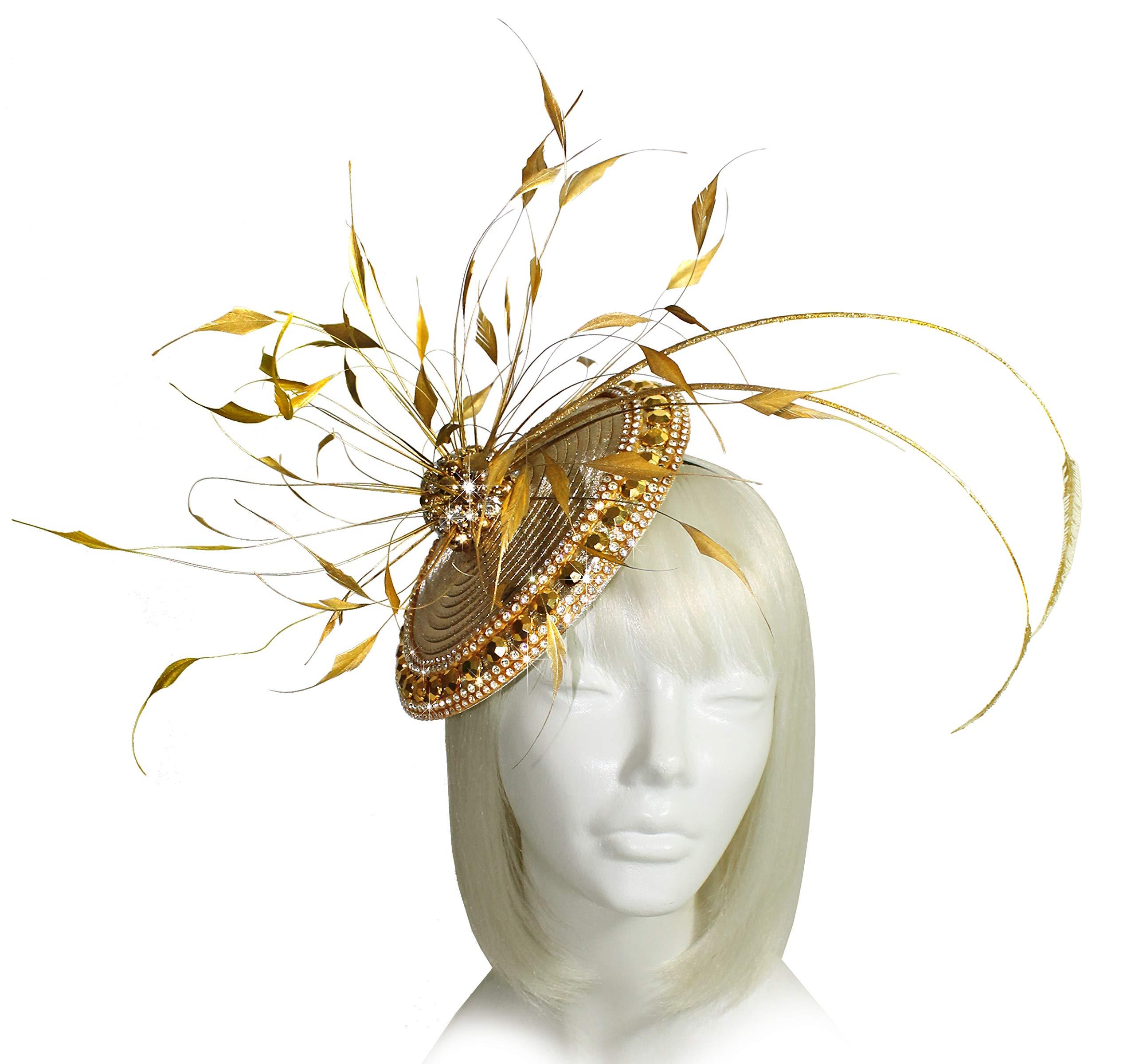 Mr. Song Millinery Kentucky Derby All-Season Profile Dish Fascinator Headband - AF111 Aurum Gold