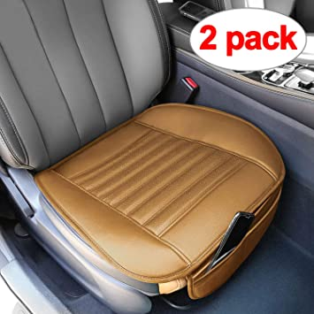 BEIGE BREATHABLE CAR SEAT COVER PAD PU LEATHER VAN AUTO DRIVER CHAIR CUSHION MAT