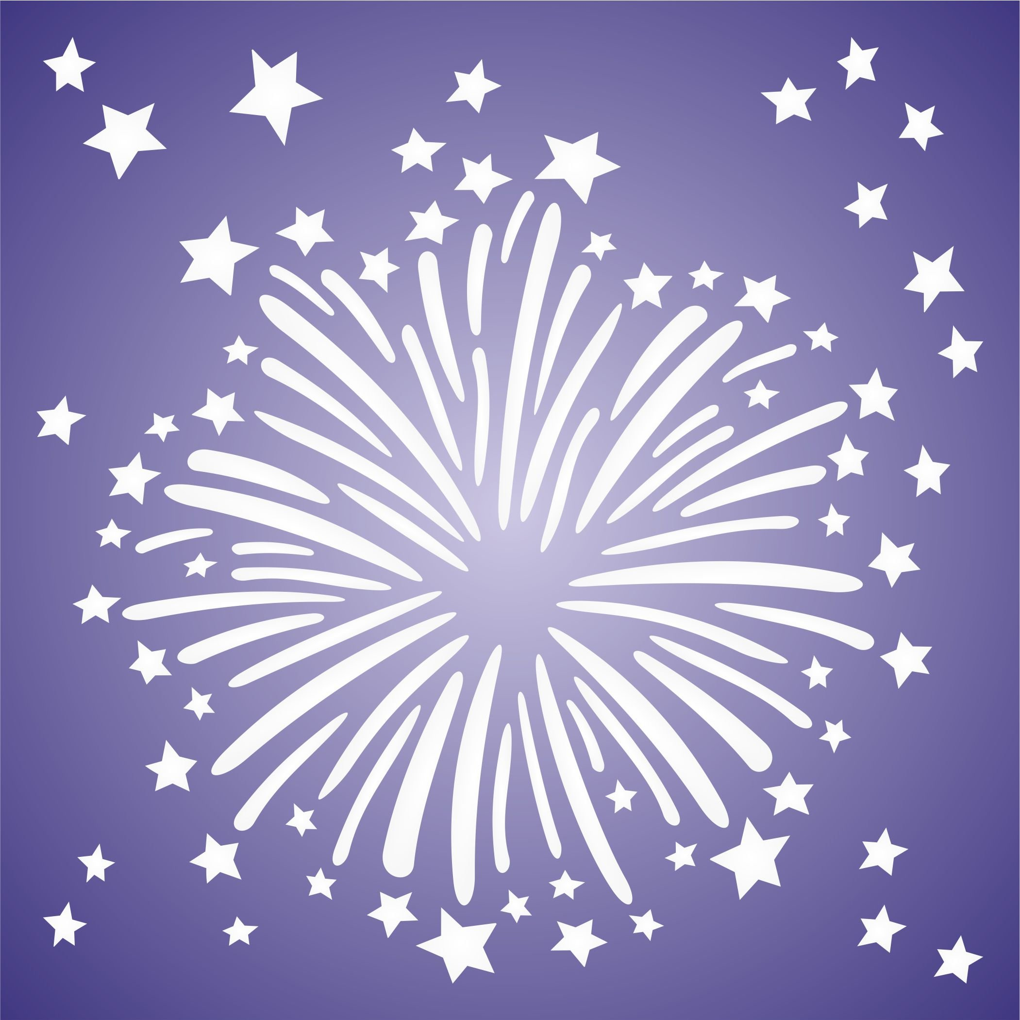 """FIREWORKS STENCIL (size 9""""w x 9""""h) Reusable Stencils for Painting - Best Quality Scrapbooking Wall Art Décor Ideas - Use on Walls, Floors, Fabrics, Glass, Wood, Posters, and More…"""