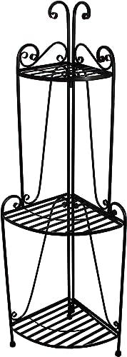 Folding Corner Bakers Rack Three Shelves – Black