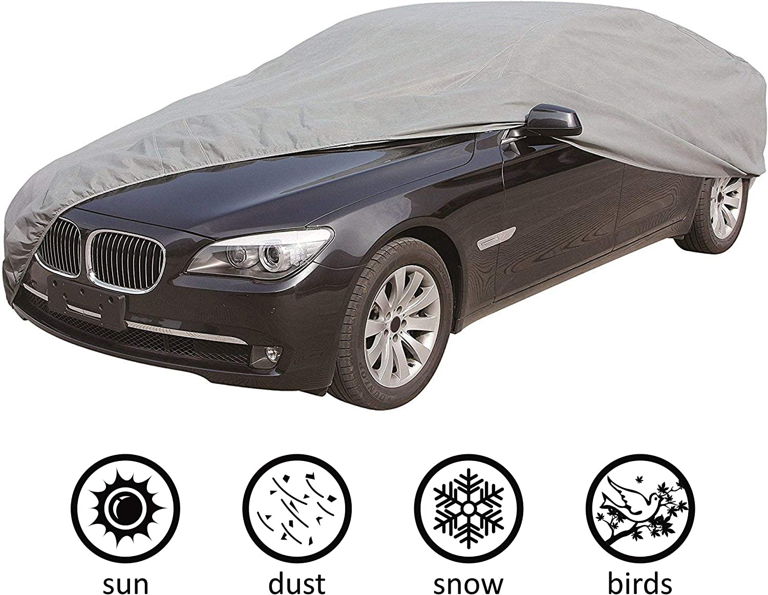 """CARTMAN 5 Layers Car Cover Sedan Cover Windproof/Dustproof/Scratch Resistant Outdoor UV Protection, Size:M - Fits Sedan up to 170"""""""
